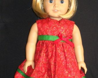 Christmas Red & Gold Dress American Girl 18 inch Doll Dress Handmade
