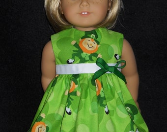 St Patricks Leprechaun Dress American Girl 18 inch Doll Dress Handmade