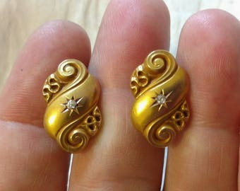 Antique 14k Gold CUFFLINKS, Diamond Cufflinks 14 Kt Gold, European Cut Diamonds, Repousse'  NO MONOGRAM, great condition.