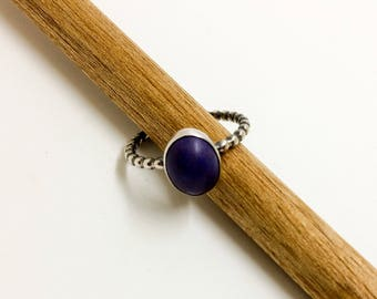 Sterling Silver Purple Magnesite Beaded Band Stacking Ring