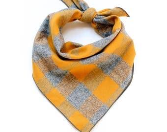Gold Yellow and Grey Flannel Dog Bandana - Winter Dog Bandana - Gray Buffalo Plaid Dog Scarf - Ready to Ship