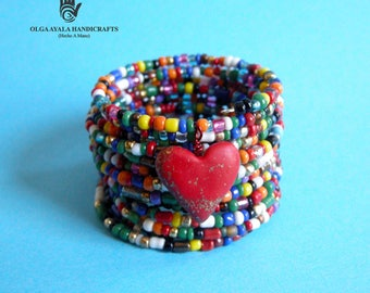 Colors of My Love Beaded Wrap Cuff Bracelet with Heart