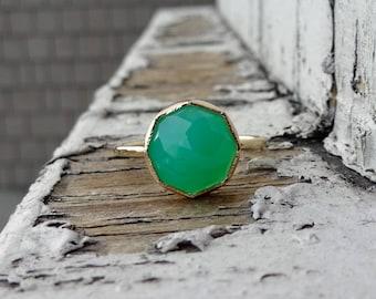 Chrysoprase Stacker Ring, Handmade recycled 14k Gold Stacker, Birthstone jewelry, Green Ring