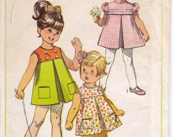 Vintage Pattern Simplicity 7560 Toddler' Girl Dress 60s Size 1