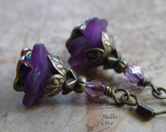 Purple Flower Earrings with Lucite Flowers, Czech Glass, and Antique Brass