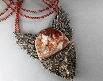 Sadness of the Land - sculpted bronze and silver, face necklace, agate, garnet, carnelian, branches, earth, tears, raindrops, ONE OF A KIND