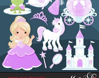 Fairy Tale Princess Clipart, purple. Fairy Tale characters, princess carriage, tiara, frog prince, princess castle, wand & mirror graphics.