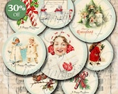 HAPPY CHRISTMAS CIRCLES Collage Digital Images -printable download file-