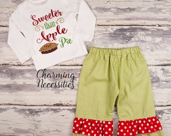 NEW Fall Thanksgiving Outfit, Baby Toddler Girl Clothes, Top Ruffle Pants Set, Sweeter Than Apple Pie, Charming Necessities