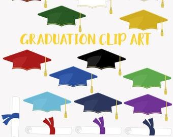 Graduation cap clipart, grad diploma, college university student, school graduate, scholar hat, grad colors (LC30)