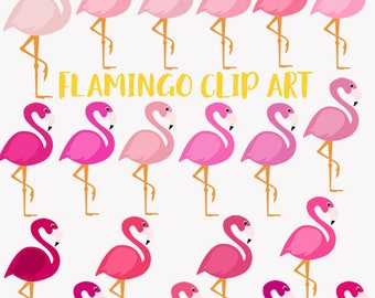 Flamingo clip art, pink flamingoes, bird clipart, tropical, 20 shades of pink, invitation graphics, commercial use digital png (LC38)