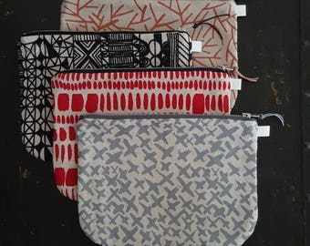 Screen printed clutch bag, evening bag, large zipped pouch by Lucie Summers of Summersville. Ready to ship and perfect Christmas gift!