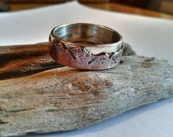 Mountain wedding band sterling and copper - ladies band- unisex band- nature lover- rustic- rugged- organic - 5 or 6 mm width