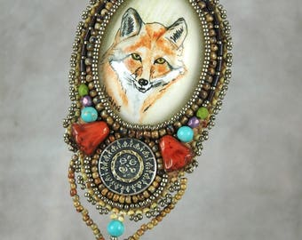 Necklace, Bead Embroidered Necklace, fox, pen and color ink, original drawing, vintage button, handmade, one-of-a-kind, beaded