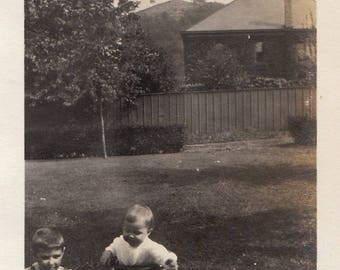 Original Vintage Photograph Snapshot Small Boy by Baby in Walker 1910s-20s