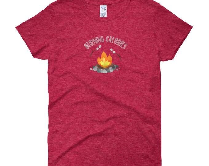 Burning Calories, Marshmallows over Campfire, Women's short sleeve t-shirt
