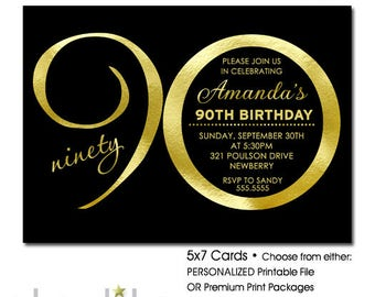 90th Birthday Invitation | Black and Gold Birthday Invitation ANY AGE Ending in ZERO | Printable 90th Birthday Invitation | Printed Invites