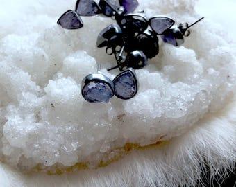 Tanzanite studs | Raw tanzanite earrings
