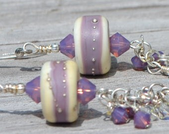 Purple and White Lampwork and Swarovski Dangle Earrings