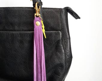 REPURPOSED Suede Tassel. Bag Accessory. Boho Fringe. Purple Suede. Lightning Bolt. Ready to Ship.