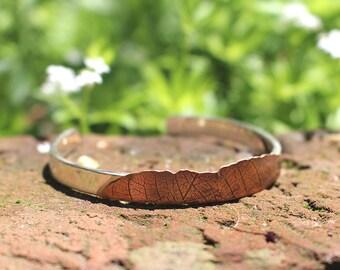 Handmade Sterling Silver Copper Leaf Pattern Adjustable Cuff Bracelet