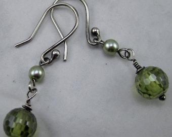 Green Crystal and Swarovski Pearl Earrings
