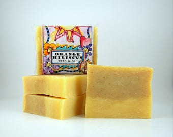 Orange Hibiscus with Aloe SOAP, Vegan, All Natural, SHIPS FREE in U.S.A.