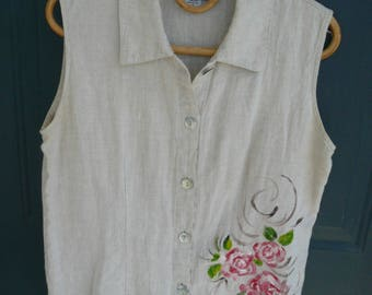 Women's Linen Sleeveless Top Handpainted Roses Fruit Size Small Vintage Khaki Shirt Free Shipping