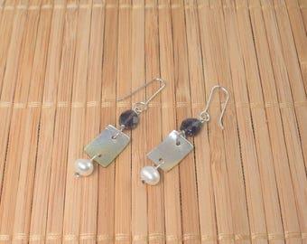 Blue Gem White Pearl Silvery Shell Dangle Sterling Silver Iolite Stone Drop Long Earring Facet Gemstone Dangle Blue MultiStone Pearl Earring