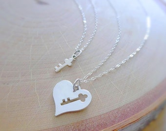 Mother Daughter Necklace SET, Piece of my heart necklace, Key to my heart, mom & child, little girl, first day of school, kindergarten grad