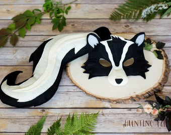 Stanley and Stella Stinker Skunk Felt Mask and Tail pretend play costume