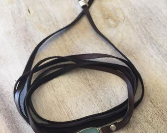 Leather and Sea Glass Choker Necklace Festival Jewelry Lariat