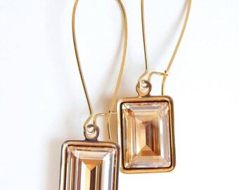 Gold emerald cut long earrings - gold crystal earrings - baguette crystal - crystal earrings - Swarovski crystal
