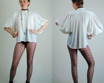 Sheer Poet Blouse Vintage Ivory Sheer Draped Chiffon Ruched Poet Sleeves Crop Blouse (s m l)