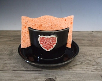 Beautiful Black Sponge Holder with Red Heart by misunrie