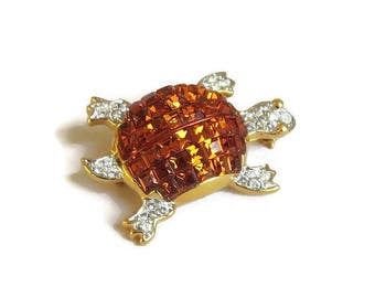 Golden Topaz & Clear Pave Rhinestones Small Turtle Brooch Vintage signed KJL Kenneth J. Lane