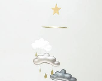 """Moon and Star Nursery cloud mobile """" MOON MIDNIGHT"""" by The Butter Flying-grey,white,gold nursery"""