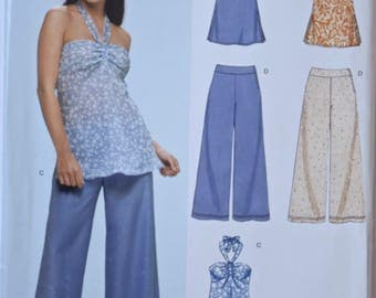 """2000's New Look 6713 Sewing Pattern Misses' Halter Top with Variations Wide Leg Pants UNCUT Factory Folds Sizes 6-16 Bust 30.5""""-38"""""""