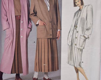Vintage 1980s Perry Ellis Vogue 1775 Sewing Pattern Misses' Coat Jacket and Pleated Skirt American Designer UNCUT Factory Folds Size 10