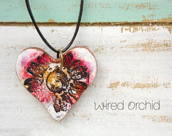 Polymer Clay Heart Pendant Jewelry featuring an Wildflower Grunge Boho Design in Magenta, Gold, Black and White