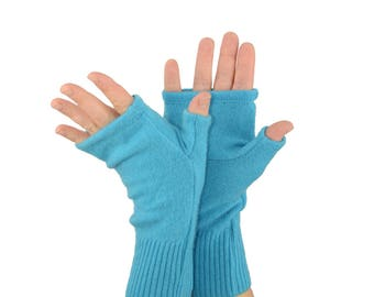Cashmere Fingerless Gloves in Turquoise Blue - Upcycled Wool Sweater