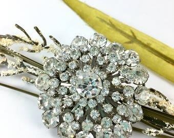 Vintage Clear Rhinestone Brooch, Large, 1950s Bridal Wedding Jewelry, Bridal Bouquet Brooch, Spoke Sputnik, Something Old
