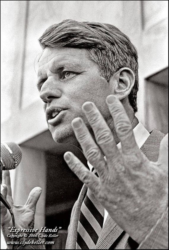 EXPRESSIVE HANDS, Robert F. Kennedy portrait, Clyde Keller 1968 Photo