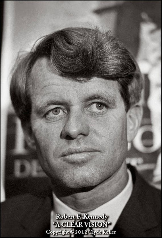 A CLEAR VISION, Robert F. Kennedy portrait, Clyde Keller 1966 Photo