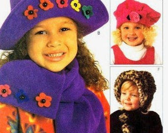 CHILD HAT Sewing Pattern Abbe Gale Fleece Winter Hats & Scarf McCalls 9497