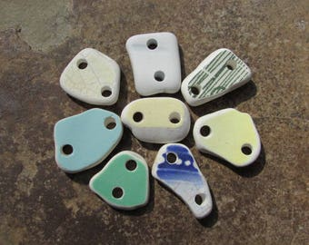 COLORFUL Ceramics Beach Glass CONNECTORS Sea Glass Pottery LINKS Connectors