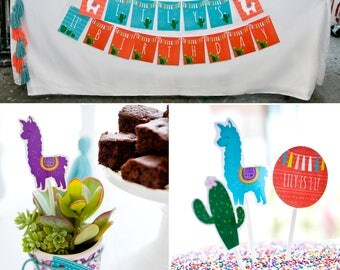 Alpaca | Cactus | Yarn Tassel PRINTABLE Party Collection - You Customize EDITABLE TEXT >> Instant Download | Paper and Cake