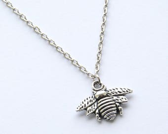 Antique Silver Bee Necklace, Bumble Bee Necklace, Insect Jewellery, Pendant Necklace, Antique Silver Chain