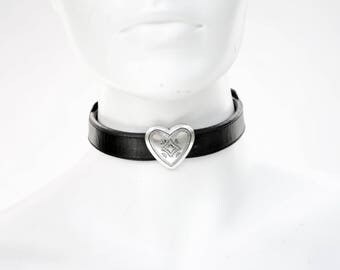 90's Style Black Leather and Silver Tone Heart Upcycled Modern Trendy Choker Necklace