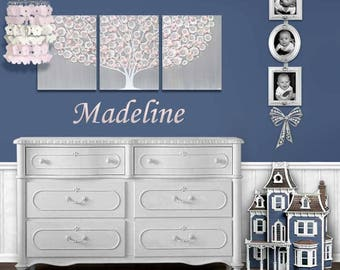 Nursery Painting for Baby Girl in Gray and Pink - Tree Wall Art on Triptych Canvas - Large 50x20